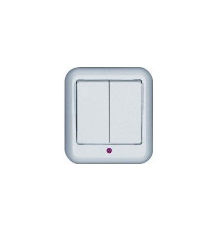 Выключатель W Прима О/У белый 2 клавиши, индикатор