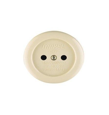 Розетка Makel накладная без заземления (керамика) круглая