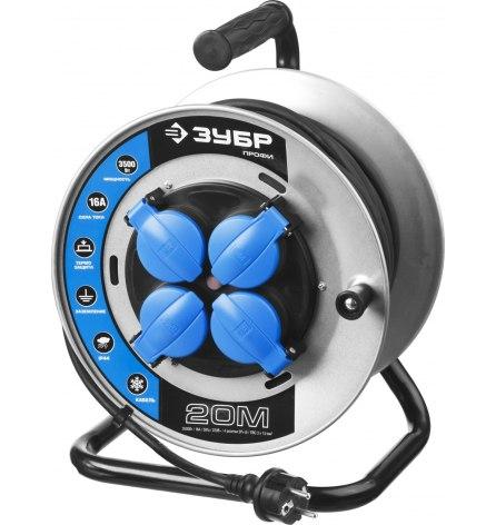 Удлинитель на катушке(морозостойкий) КГ 3х1.5кв.мм.IP44,50м, ЗУБР