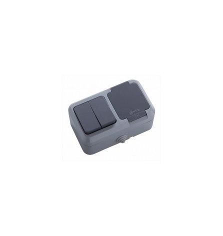 Блок Makel IP44 серый ( 2 выключателя, розетка с крышкой)