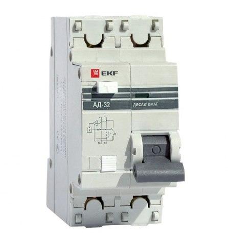 Автомат дифференциальный АД-32 1P+N 10А/30мА 4,5кА EKF PROxim