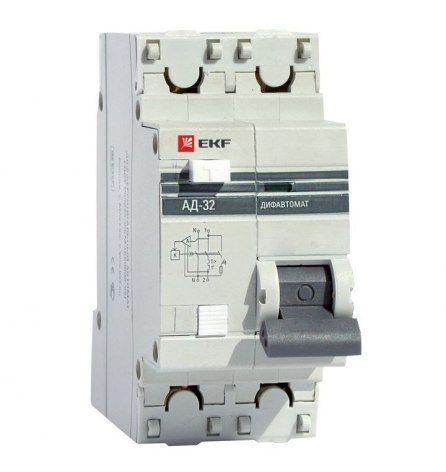 Автомат дифференциальный АД-32 1P+N 16А/30мА 4,5кА EKF PROxim