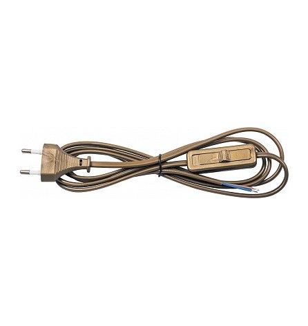 Сетевой шнур с выключателем 230V 1.9м золото