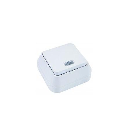 Выключатель проходной Makel накладной белый 1 клавиша, индикатор
