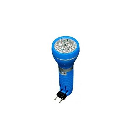 Фонарь аккумуляторный 9LED 0,6W голубой TL041