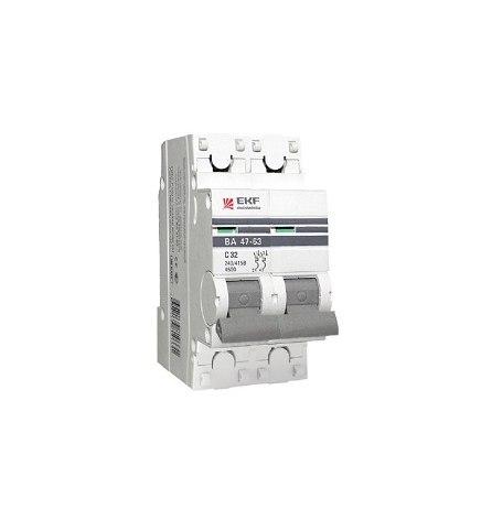 Автоматический выключатель ВА 47-63, 2P 25А (C) 4,5kA EKF PROxima
