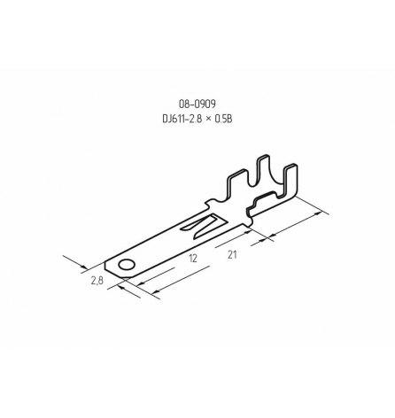 Клемма плоская 2.8мм (1-1.5мм2) штекер (100шт)