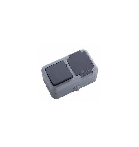 Блок Makel IP44 серый (1выключатель, розетка с крышкой)